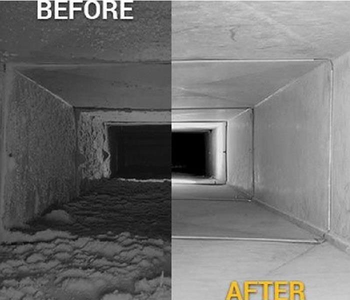 Before and after photo of duct system cleaning combined into one photo.  Left side dirty, right side clean.  Before and after